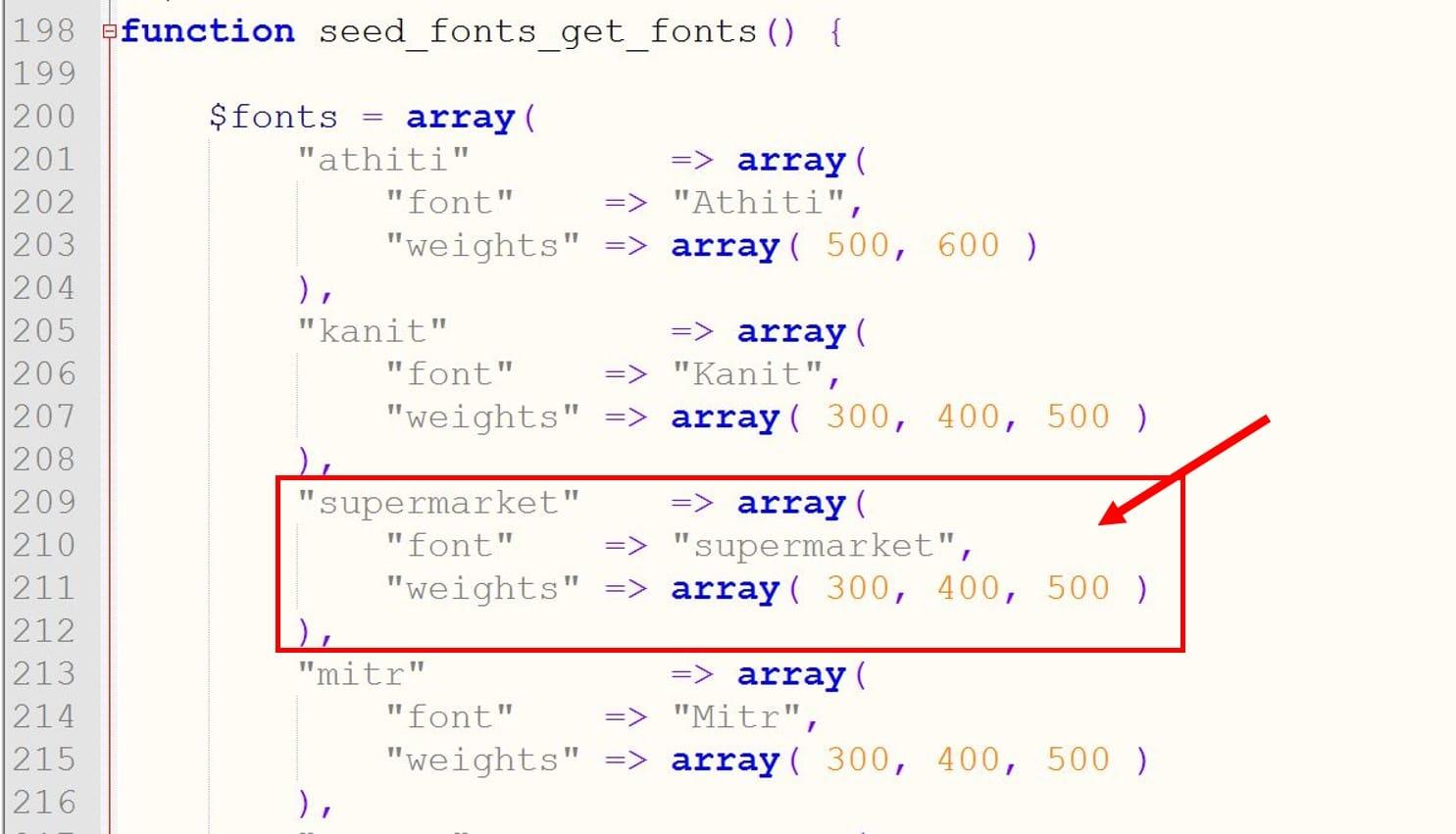 font code