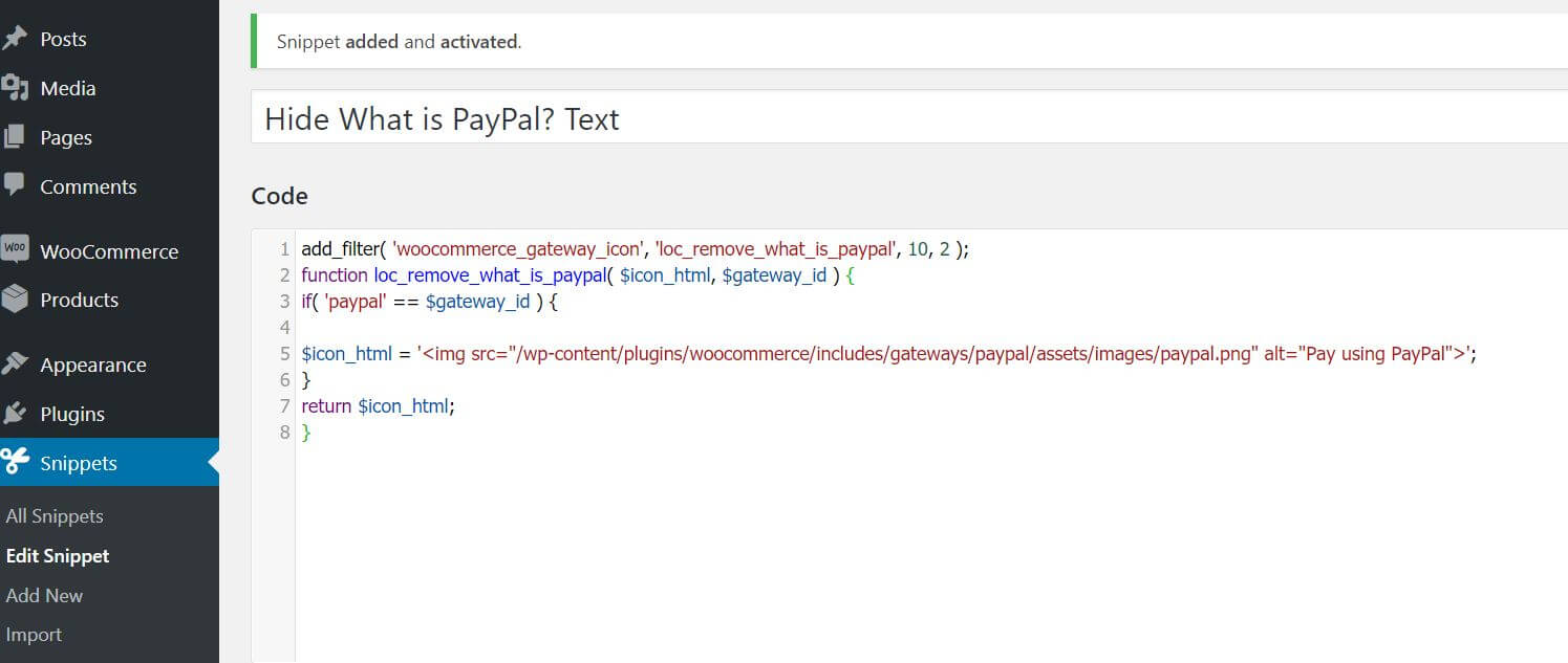 hide paypal text code snippet