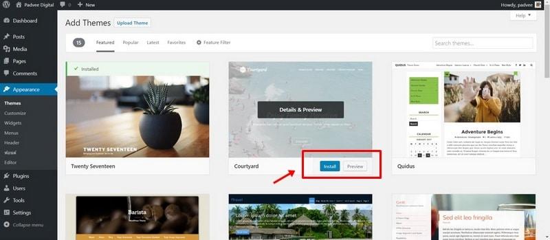 ลงธีม WordPress