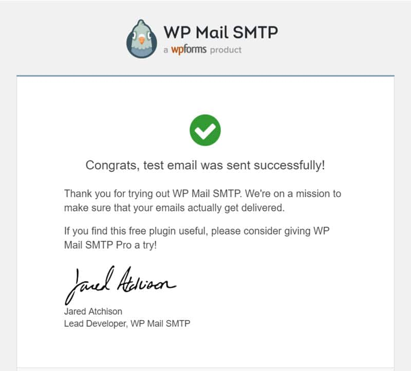 email test success